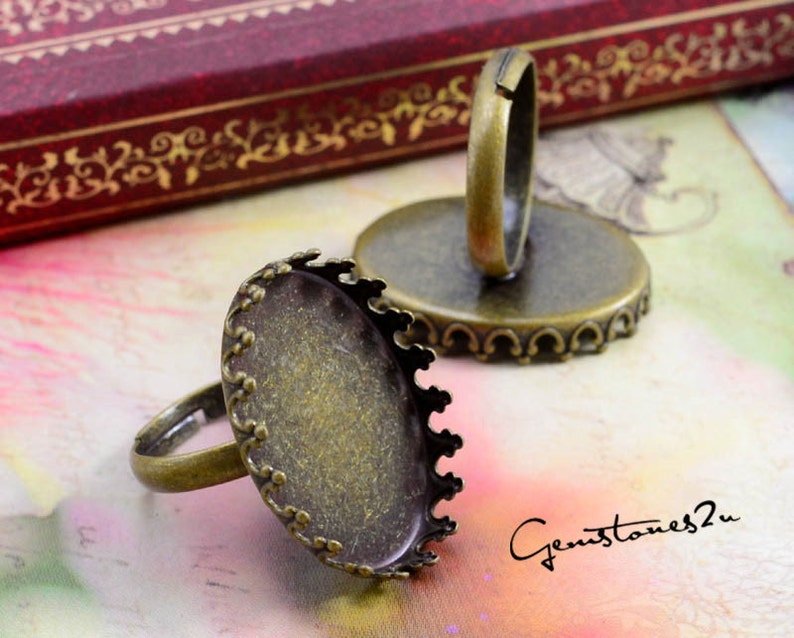 40/% off--20pcs Brass Antique Bronze Adjustable Ring Blank With 13x18mm  18x25mm Oval Crown Base Setting\uff0c05499