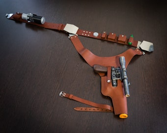 Han Solo Blaster, Leather Belt with Holster, Power Cells, Gas Cartridge, Droid Caller   Star Wars Cosplay