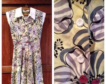 Vintage 1940s Yellow & Grey Magnolia Dress | 30 Bust | 40s dress