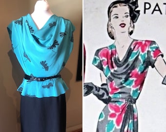 Vintage Mid 1980s does 40s Teal Dress with Peplum | 36 Bust