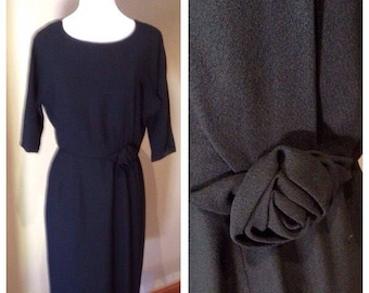 Vintage Late 1950s Black Sheath Dress with Rose - Bust 37
