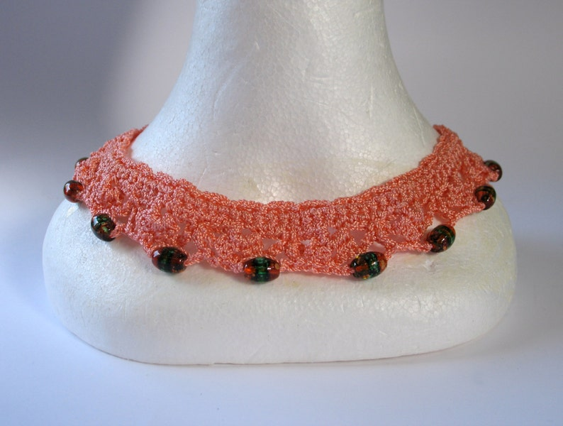 Vintage 1930s Silk Thread Collar with Venetian Beads image 0