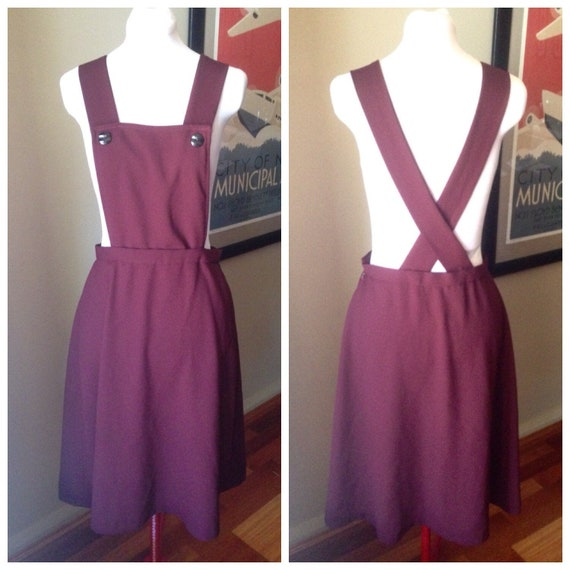 1940s Style Burgandy Pinafore Dress   Repro   Lind