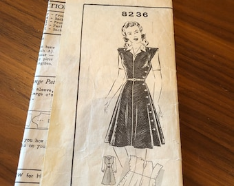 Rare 1940s Clover Farm Dress & Blouse Pattern | Unused | 37 Bust