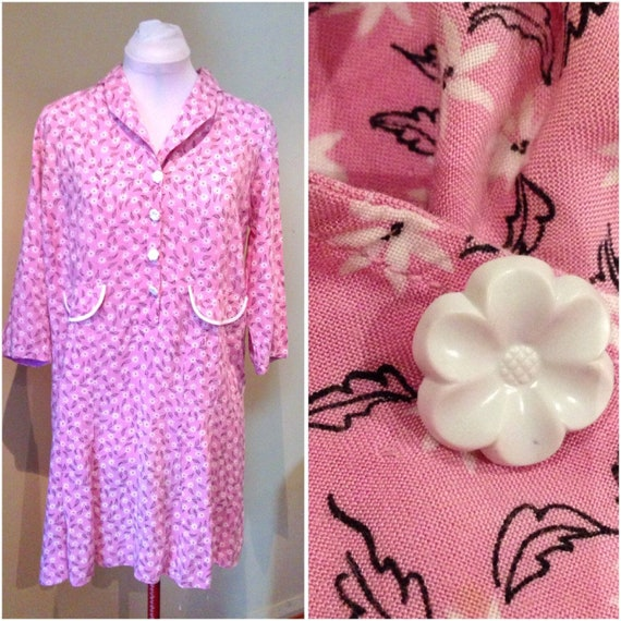 Repro 1920s Pink Cotton Dress   38 Bust   1920s