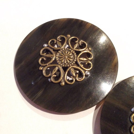 Vintage 1930s Two-Piece Round Celluloid Buckle | … - image 2
