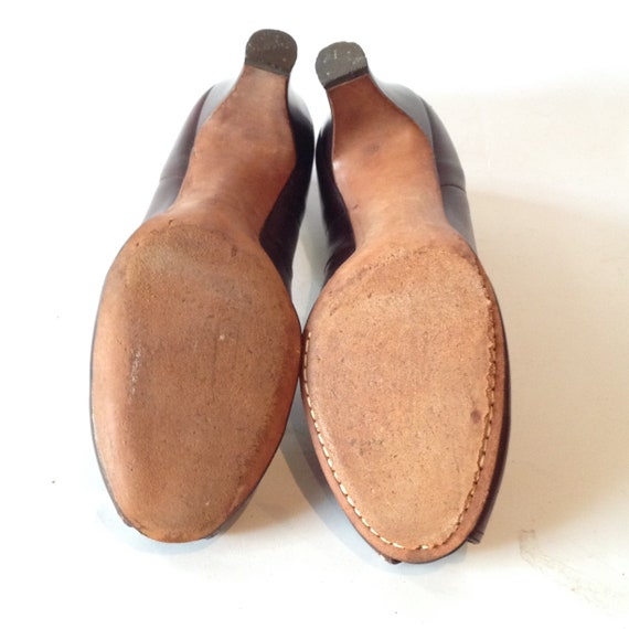 Vintage 1940s Brown Leather Peep-toe Shoes | 1940… - image 6