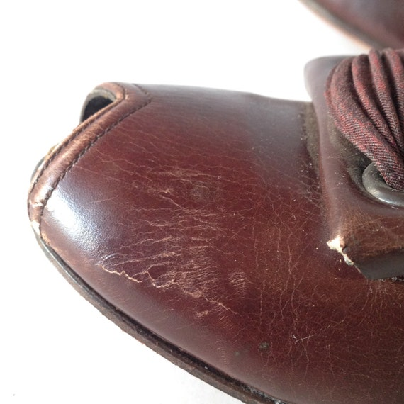 Vintage 1940s Brown Leather Peep-toe Shoes | 1940… - image 8