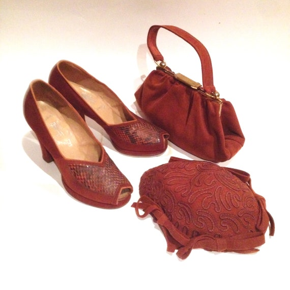 1940s Shoes, Handbag and Hat Set | 1940s Accessori