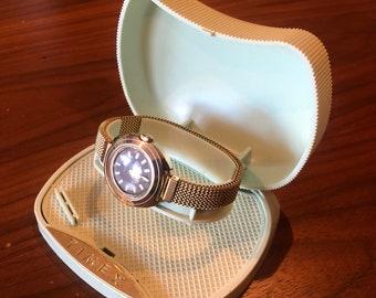 Vintage 1973 Gold Ladies Timex Wrist Watch in Box | Working