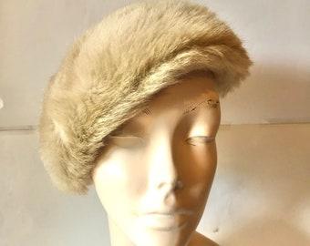 Vintage 1950s Faux Fur Beret or Tam Hat | 1950s hat | Faux Fur