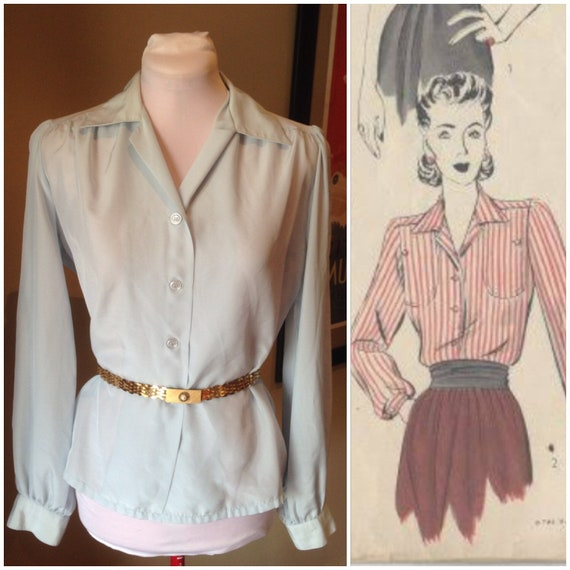 1970s does 1940s Blue Ladies Blouse | 38 Bust