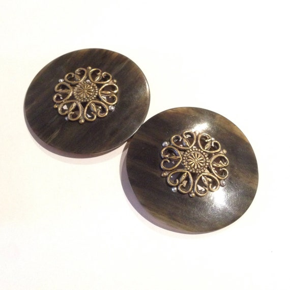 Vintage 1930s Two-Piece Round Celluloid Buckle | … - image 1