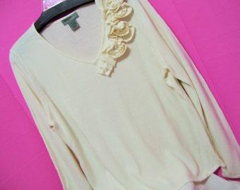 Vtg 90s Size Large Bust 44 MINT DESIGNERS ORIGINALS Pullover Top Floral Tropical Pink wBeading Stretch Knit wOriginal Tags Unworn