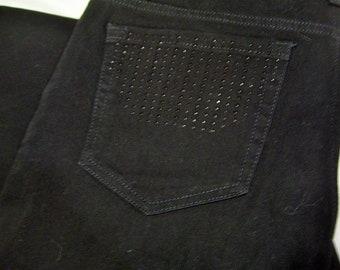 6ee5433deed0d8 Jones NY, Black Jeans, Classic Denim, Cotton Blend, Stretch, Straight Leg,  Black Studded, Pockets, Jones New York, Size 12