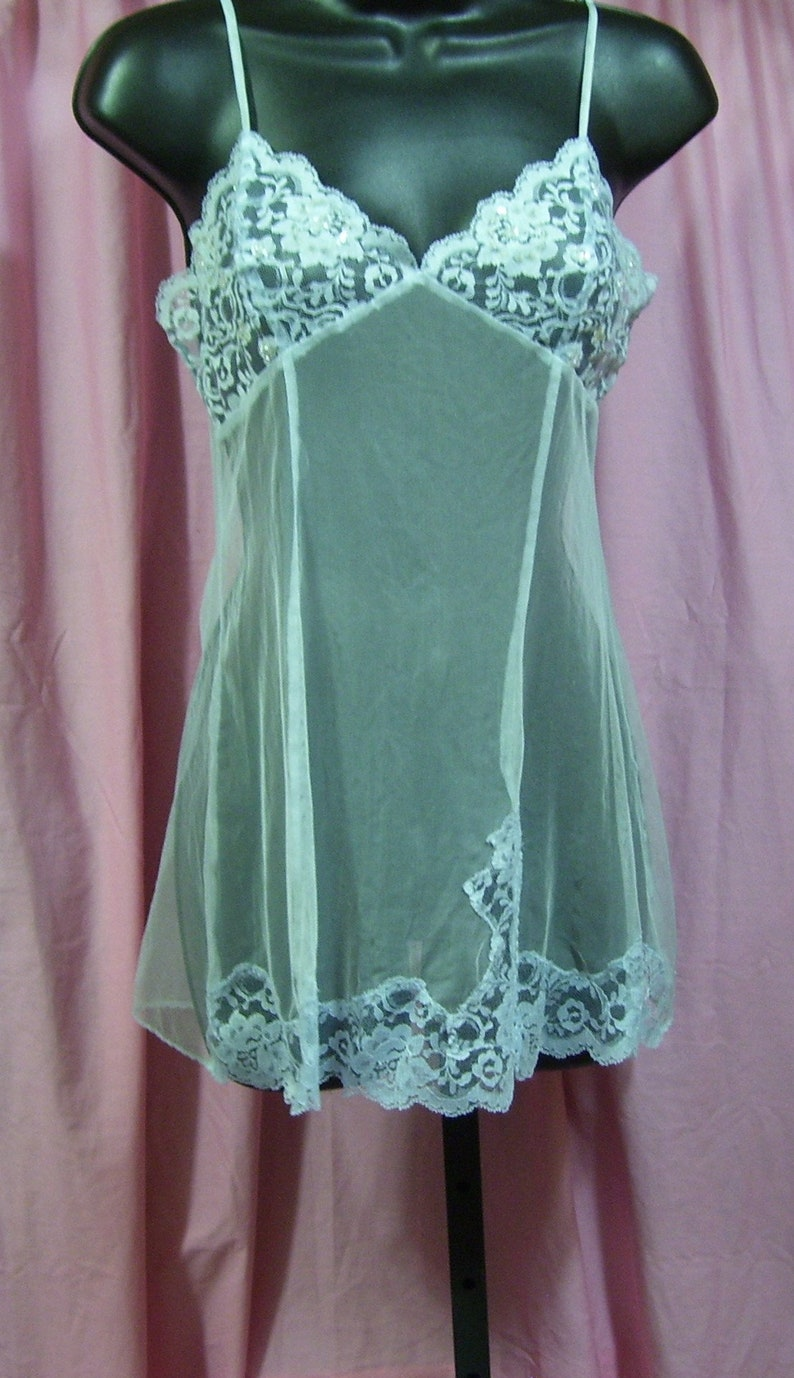 eb95a453f39 Stretch Net Sexy Night Gown Short Chemise Light Blue
