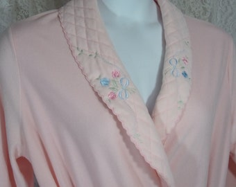 Carole Robe, Plush Pink, Quilted collar, Embroidery, Wrap Kimono, Size L Large, Winter Warm