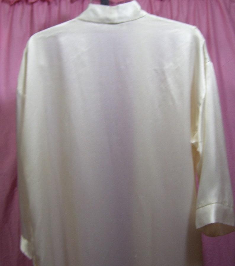 Satin Robe Bridal Honeymoon Off WhiteIvory Long Open Front Lace Inserts Size M Medium Dentella