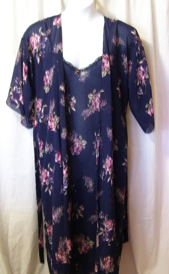 Robe Night Gown, Long Set, Navy Floral Print, Brid