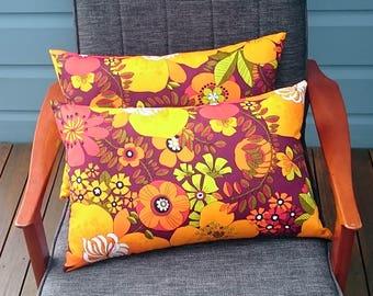 Flower power orange lumbar cushion cover