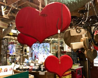 Red Wooden Heart Christmas Decorations Pack of 10
