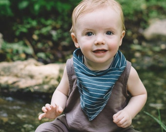 Bohemian Babies Teal and White Stripe Bandana Bib