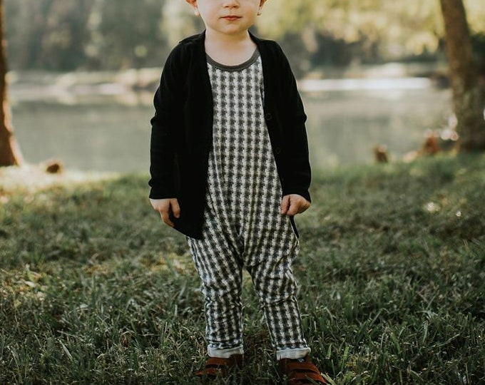"Featured listing image: Bohemian Babies ""Gray Plaid"" Romper"