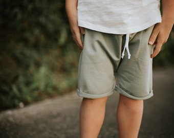 Bohemian Babies Bamboo Terry Harem Shorts with Faux Drawstring//5 Colors Avaiable