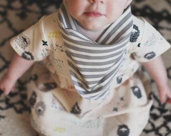 Bohemian Babies Gray and White Striped Bandana Bib