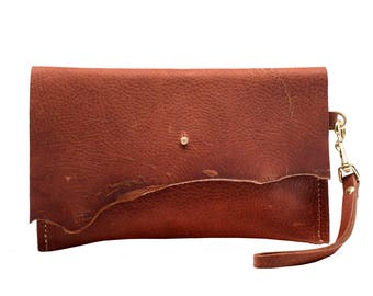 Personalized Leather Clutch, Copper Leather Wristlet, Small Bag, Cosmetic Purse, Foil Monogram, Monogrammed Clutch Bag, Handmade in USA