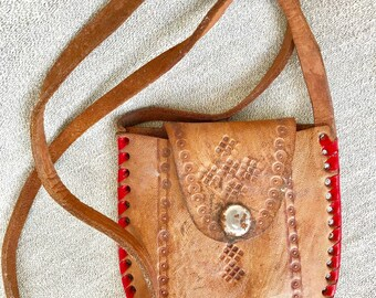 Vintage Handmade Hand Tooled Leather Pouch With Handle