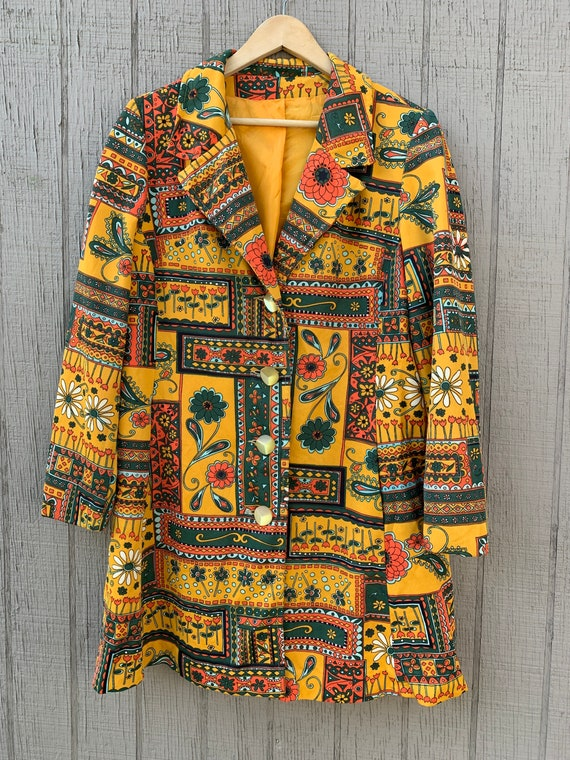 Psychedelic 60s Jacket Gold Green Orange