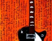 Vintage Guitar Art. The Beatles. George Harrison Gretsch electric guitar art print. Beatlemania. 11x17.