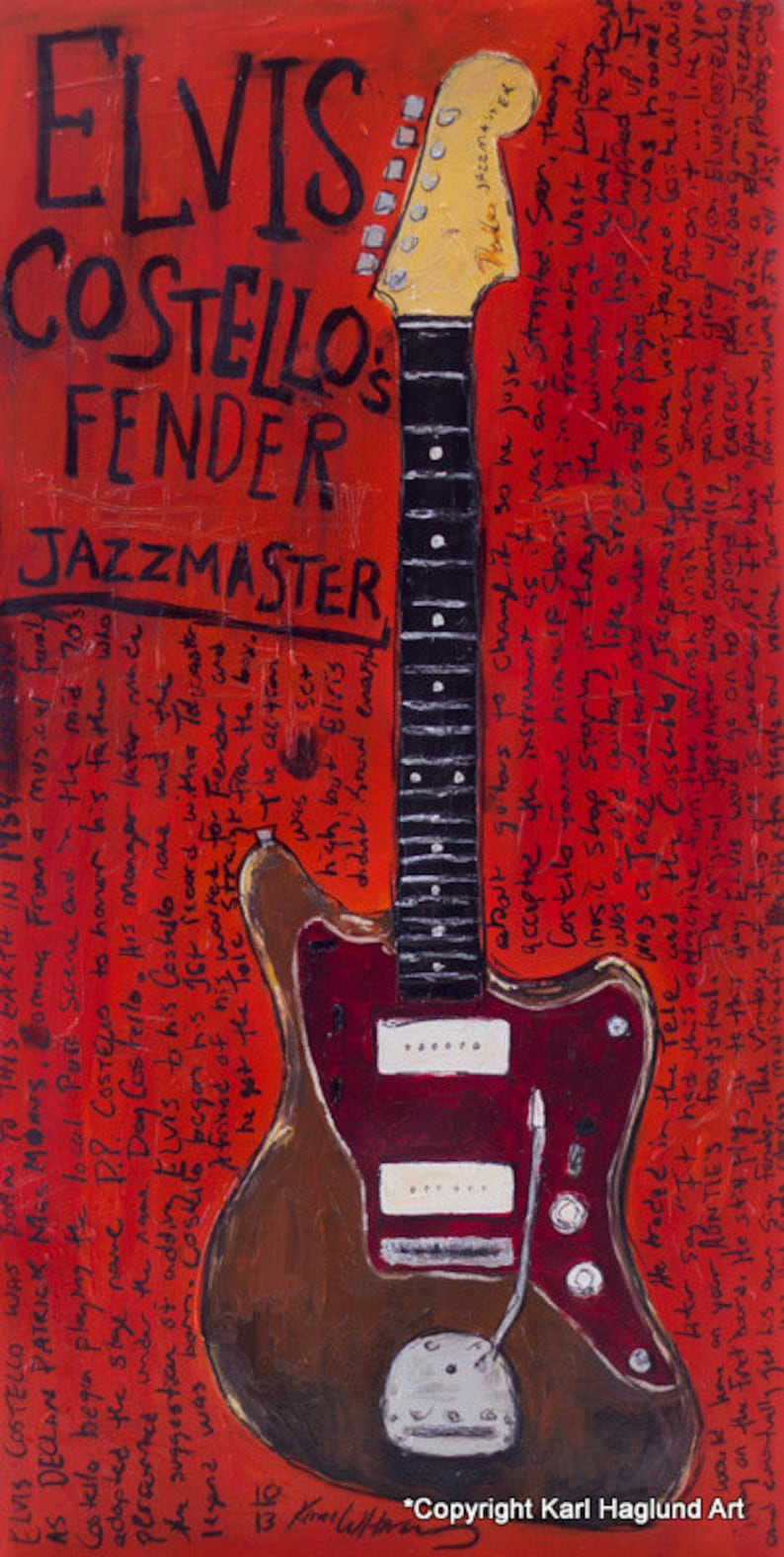 Noel Gallagher Jazzmaster.Elvis Costello Art Vintage Fender Jazzmaster Electric Guitar Art Print 11x17
