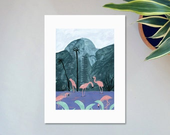 Illustration, Affiche, Impression sur papier, Les flamants roses