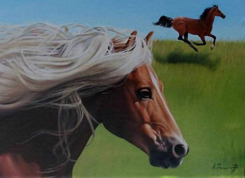 Dipinti Murali E Pittura Ad Ago : Esecuzione di cavallo con criniera bianca pittura a olio etsy