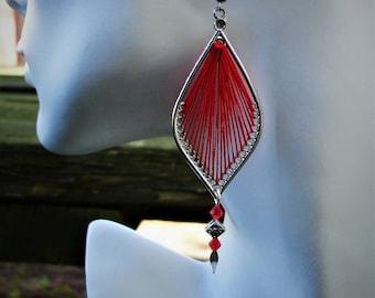 Red earrings, boho teardrop earrings, gift for her, thread earring, thread earrings,red earring,red jewelry,red long earrings, red boho