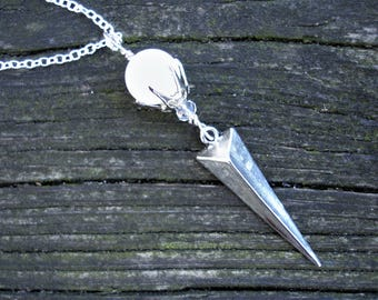 Moonstone necklace, moonstone pendant, moonstone jewelry, spike necklace, spike jewelry, silver spike pendant, moonstone spike pendants