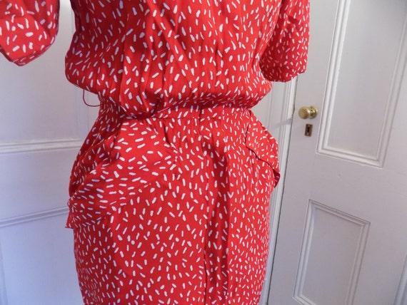 Vintage 80s Does 40s Red & White Maggy London by … - image 3