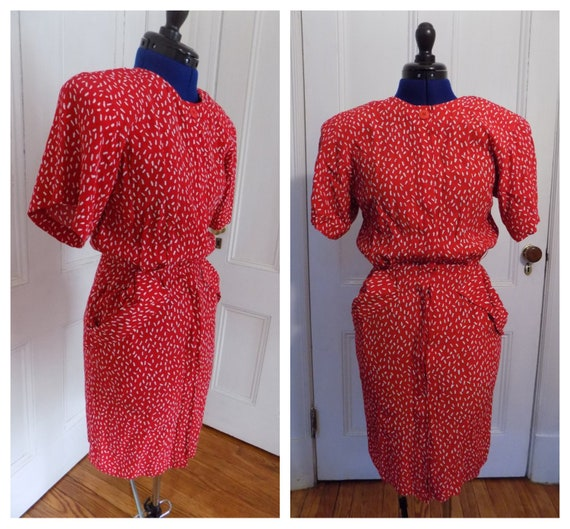 Vintage 80s Does 40s Red & White Maggy London by J