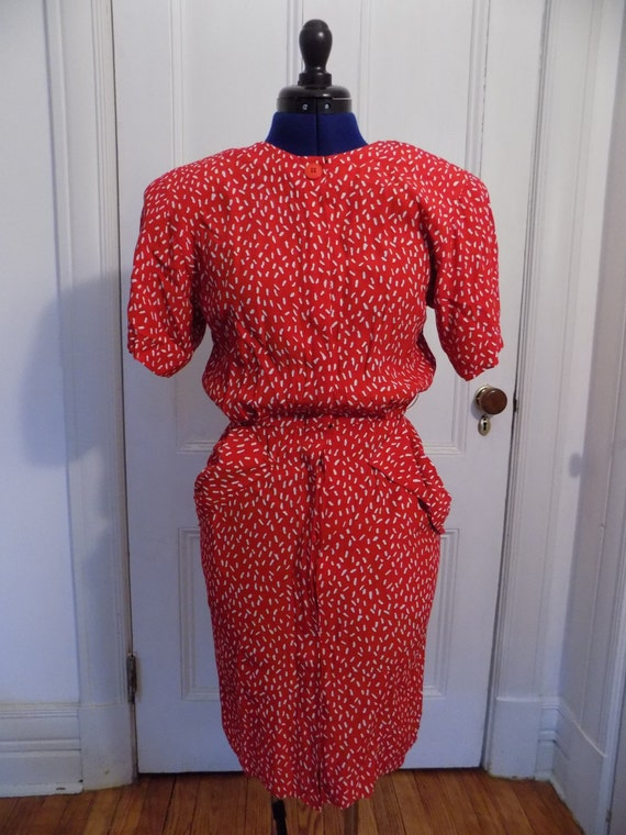 Vintage 80s Does 40s Red & White Maggy London by … - image 2