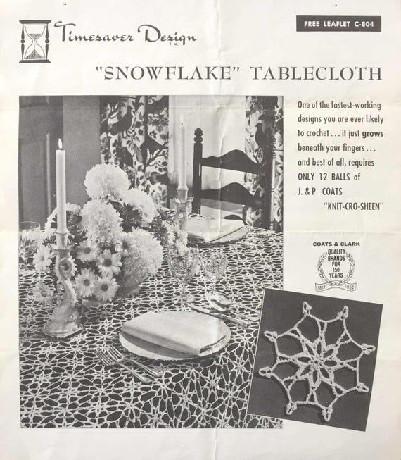 Vintage Timesaver Design Snowflake Tablecloth Crochet Pattern Etsy