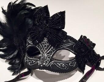 Black Masks with bows- Masquerade Mask with bow -Womens Masquarade Mask- Costume party mask- Masquerade Ball- Mardi Gras Mask -Masked ball.