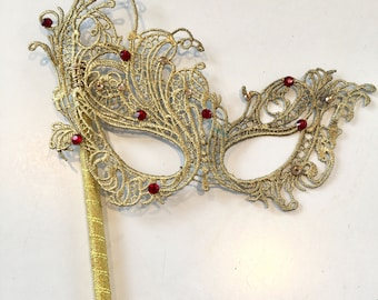 Mask on a stick- Lace Mask -Rhinestone Mask- Masquerade Mask- Masked Ball- Costume party- Masquerade Ball- Mardi Gras- Wedding Mask- Gold