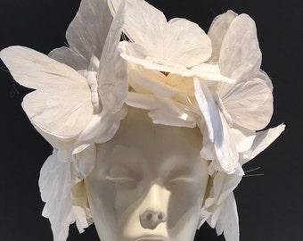 Diner en Blanc- Butterfly Headband- Flower Fascinator- White Butterfly Headdress- Derby- All White Party- Diner en Blanc 2017- Burning Man