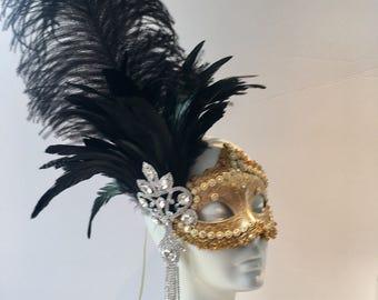 Gold  Mask- Black Feathers Rhinestone Mask- Masquerade Mask- Costume Party Mask- NYC Mask- Masquerade Ball- Mardi Gras Mask- Masked Ball