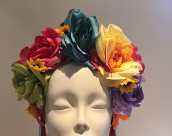 Flower Crown- Rose Headband- Day of the Dead Headband- Burning Man- Festival wear- Fall Solstice- Wedding- Dia de los Muerto