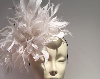 White Fascinator-  White Derby Hat- Polo Fascinator- Wedding- White Feather Fascinator- Diner en Blanc- Kentucky Derby- Tea party- Ladies