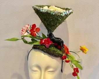 Horse Fascinator- Margarita Glass- Horserace Fascinator- Derby- Horse headband- Floral fascinator- Headdress NY- Derby-