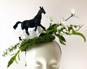 Horse Fascinators- Derby- Horserace Fascinator- Derby- Horse headband- Floral fascinator- Headdress NY- Derby- Fascinator- Polo Classic